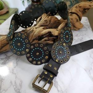 Accessories - Vegan leather boho belt brown bronze turquoise